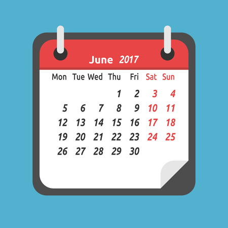 Monthly calendar for June 2017. Week starts on Monday. Time, planning and schedule concept. Flat design.