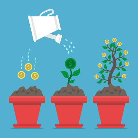 Three stages of growing money in flower pot from seed to plant and to tree on blue background.