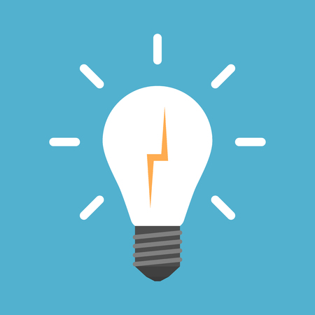 Lightning in white glowing light bulb isolated on blue background. Creativity, education and solution concept.
