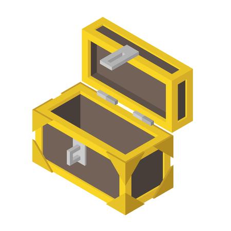Isometric opened empty wooden brass-edged treasure chest isolated on white background. Flat design. Vector illustration. Illustration