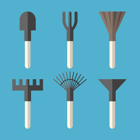 Various gardening tools set: spade, ripper, broom, rake, fan rake and hoe isolated on blue background.