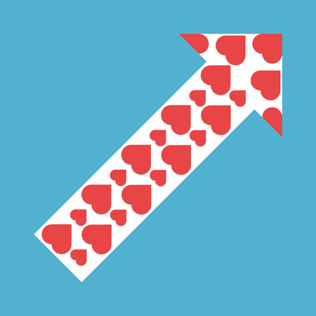 White arrow with red hearts isolated on blue background. Flat design. Love and relationship concept. Vector illustration.