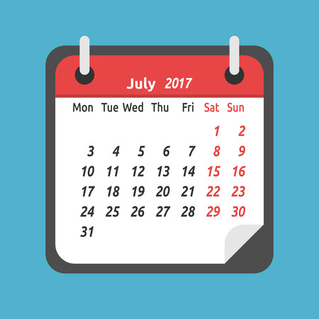 Monthly calendar for July 2017. Week starts on Monday. Time, planning and schedule concept. Flat design. Vector illustration. EPS 8, no transparency