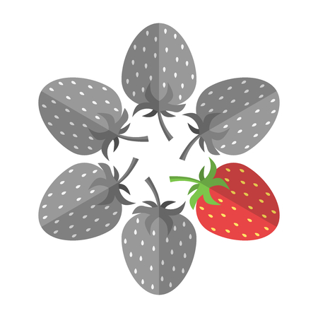 Unique red strawberry stands out from many gray ones isolated on white. Uniqueness, individuality, creativity and food concept. Flat design. Vector illustration. EPS 8, no transparency Çizim
