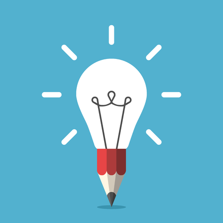 White shining light bulb combined with red graphite pencil on blue background. Idea, creativity, inspiration and insight concept. Flat design. Vector illustration. EPS 8, no transparency Çizim