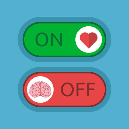 心切り替えと青の背景にオフ脳。愛、感情、知性、論理の概念。フラットなデザイン。ベクトルの図。EPS 8、透明度なし