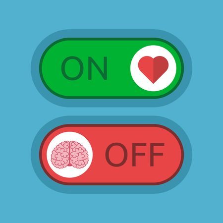 Heart switched on and brain off on blue background. Love, emotion, intelligence and logic concept. Flat design. Vector illustration. EPS 8, no transparency