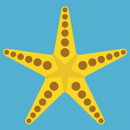 Yellow starfish isolated on blue background. Flat design. Vector illustration. EPS 8, no transparency Çizim