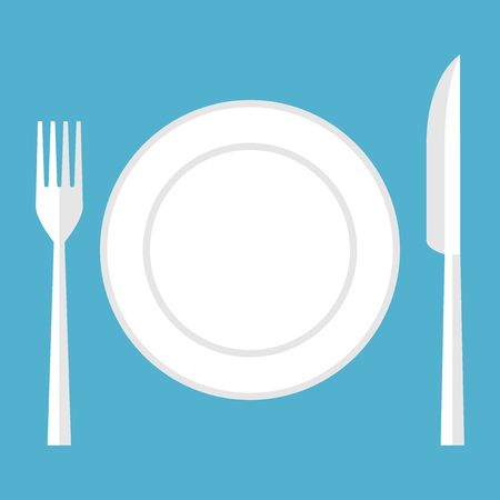 Empty plate, fork and knife isolated on blue background. Top view. Eating, healthy lifestyle and diet concept. Flat design. Vector illustration. EPS 8, no transparency Çizim