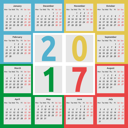 Calendar for 2017 year with seasons on color background. Week starts on Monday. Flat design. Vector illustration. EPS 8, no transparency