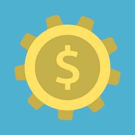 Dollar in gold cog isolated on blue background. Settings, finance and commerce concept. Flat design. Vector illustration. EPS 8, no transparency
