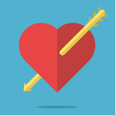 Red heart pierced by arrow on blue background. Love and relationship concept. Flat design. Vector illustration. EPS 8, no transparency