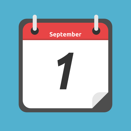 Red and white calendar showing 1 of September date isolated on blue background. Autumn, Day of knowledge and school concept. Flat design. Vector illustration. EPS 8, no transparency