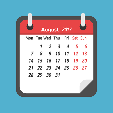 Monthly calendar for August 2017. Week starts on Monday. Time, planning and schedule concept. Flat design. Vector illustration. EPS 8, no transparency Çizim