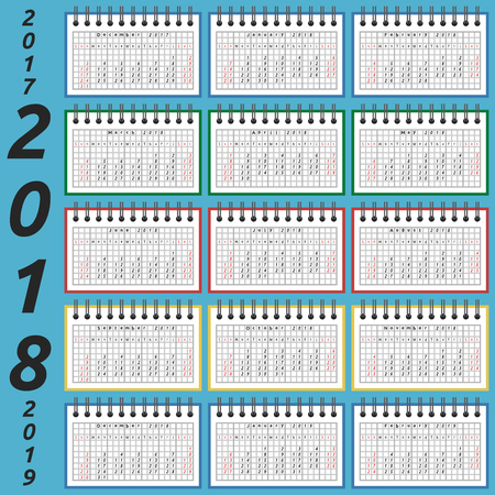 Calendar in notepad for 2018 year, part 2017 and 2019 by seasons. Week starts on Sunday. Time, planning and schedule concept. Flat design. Vector illustration. EPS 8, no transparency