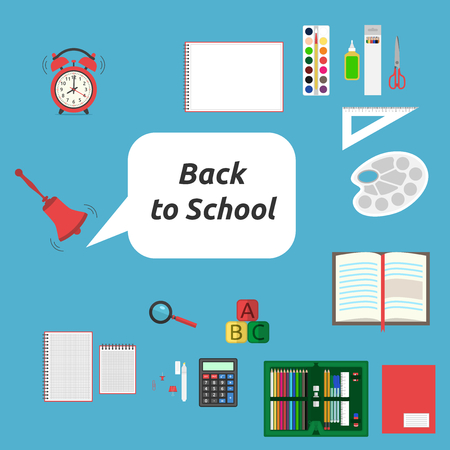 Back to school, many stationery on blue background. School,  education and starting concept. Flat design. Vector illustration. EPS 8,  no transparency