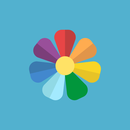 Rainbow flower: red, orange, yellow, green, light blue, blue, purple. Palette and nature concept. Flat design. Vector illustration. EPS 8, no transparency Illustration
