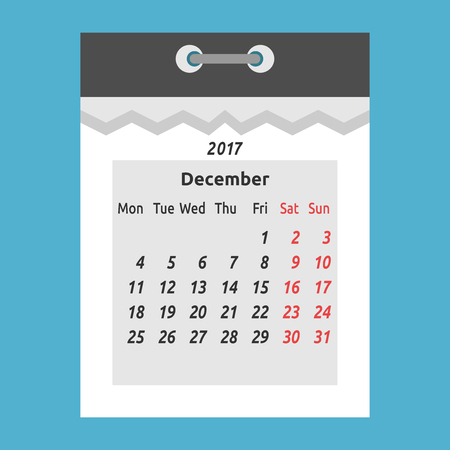 Abstract monthly tear-off calendar with one month December 2017 isolated on blue background. Time and change concept. Flat design. Vector illustration. EPS 8, no transparency