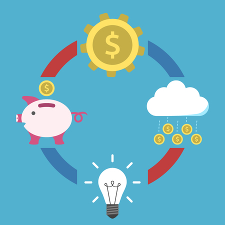 Idea appears, money accumulates in piggy bank, process and falling on blue background. Inspiration, discovery, idea and insight concept. Flat design. Vector illustration. EPS 8, no transparency