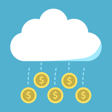 Gold coins flying from cloud on blue background. Success, economy, idea and fortune concept. Flat design. Vector illustration. EPS 8, no transparency Çizim