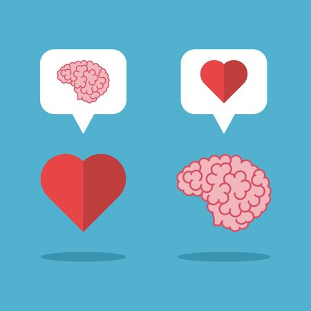 Mutual love brain and heart on blue background. Love, mind and emotion concept. Flat design. Vector illustration. EPS 8, no transparency
