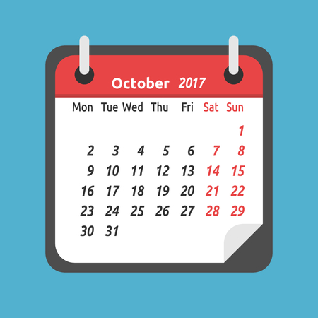 Monthly calendar for October 2017. Week starts on Monday. Time, planning and schedule concept. Flat design. Vector illustration. EPS 8, no transparency