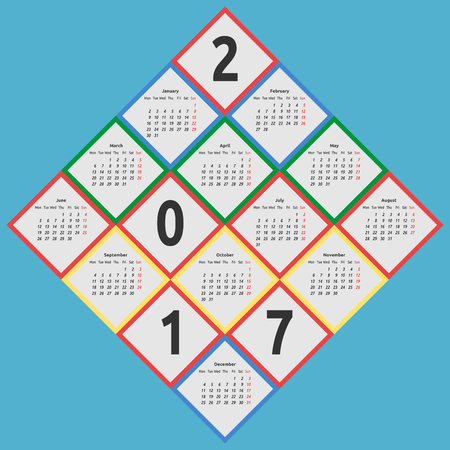 Color calendar for 2017 year by seasons in shape romb on blue background. Week starts on Monday. Flat design. Vector illustration. EPS 8, no transparency Illustration