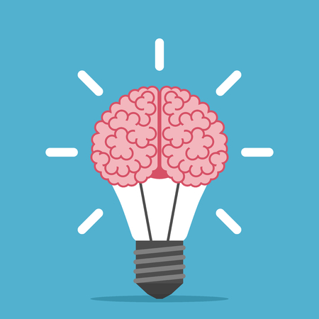 Big human brain inside shining lightbulb on blue background. Inspiration, discovery, idea and insight concept. Flat design. Vector illustration. EPS 8, no transparency Illustration