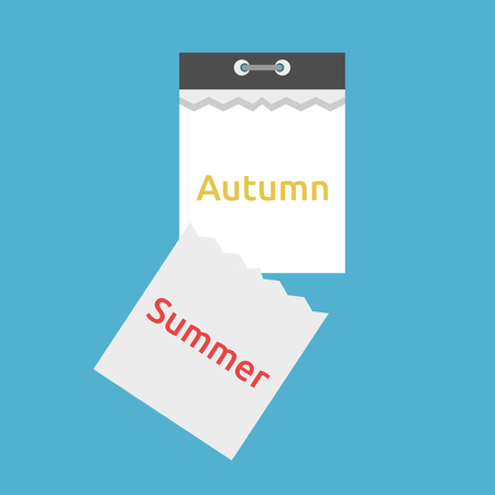 Abstract tear-off calendar with leaf falling and seasons changing from summer to autumn isolated on blue background. Time and change concept. Flat design. Vector illustration. EPS 8, no transparency