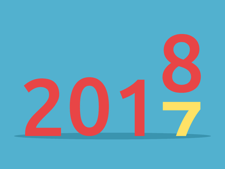 2017 changes for 2018 on blue background. New year, happy, beginning and christmas concept. Flat design. Vector illustration. EPS 8, no transparency 向量圖像