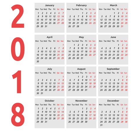 Simple international calendar for 2018 year, week starts on Monday. Vector illustration. EPS 8, no transparency
