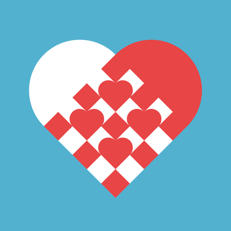Many red small hearts woven in white-red big one on blue background. Love, charity and holiday concept. Flat design. Vector illustration. EPS 8, no transparency