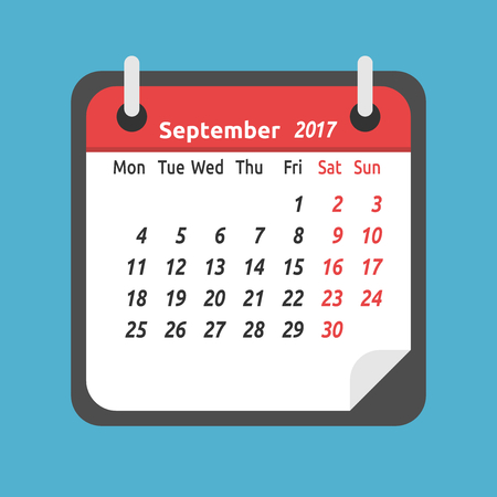 Monthly calendar for September 2017. Week starts on Monday. Time, planning and schedule concept. Flat design. Vector illustration. EPS 8, no transparency