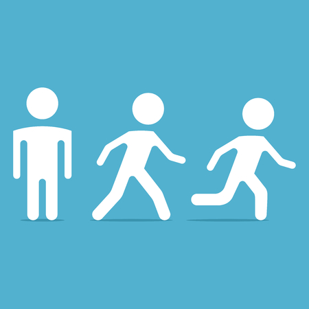 One person stands, other walk, and run on blue background. Speed, attention and safety concept. Flat design. Vector illustration. EPS 8, no transparency