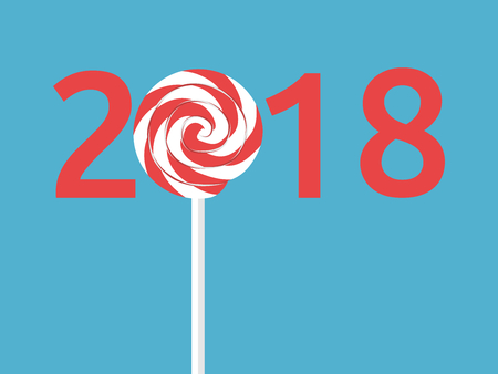 Happy New Year 2018 with lollipop on blue background. New year, start and christmas concept. Flat design. Vector illustration. EPS 8, no transparency