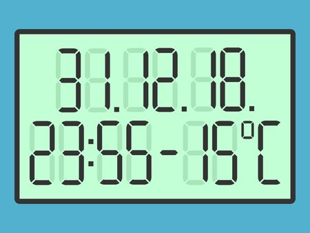 Green digital screen with regular digits, date, time and temperature to New Year  isolated on blue background. Flat design. Vector illustration. EPS 8, no transparency