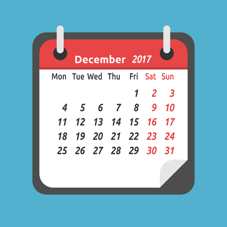 Monthly calendar for December 2017. Week starts on Monday. Time, planning and schedule concept. Flat design. Vector illustration. EPS 8, no transparency