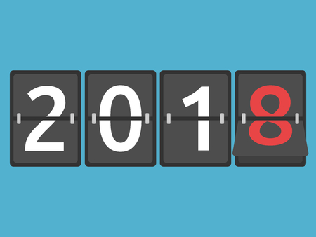 Happy New Year 2018 mechanical scoreboard congratulation, flip symbol on blue background. New year, happy and christmas concept. Flat design. Vector illustration. EPS 8, no transparency