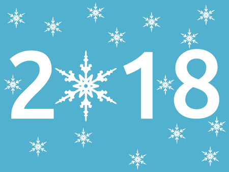 Happy New Year 2018 with snowflake on blue background. New year, happy and christmas concept. Flat design. Vector illustration. EPS 8, no transparency