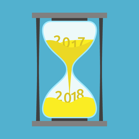 Changes 2017 on 2018 within hourglass on blue background. New year, happy and christmas concept. Flat design. Vector illustration. EPS 8, no transparency Иллюстрация