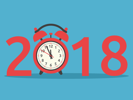 Happy New Year 2018 with red clock on blue background. New year, happy and christmas concept. Flat design. Vector illustration. EPS 8, no transparency