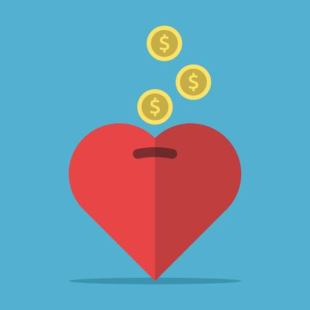 Money falling in money-box on blue Çizim