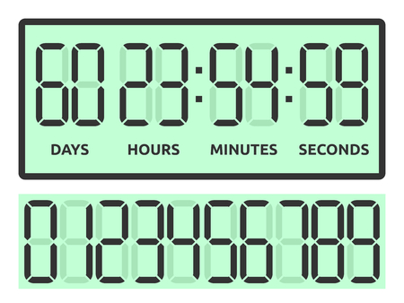 Green count down digital display with days, hours, minutes and seconds to New Year isolated on white