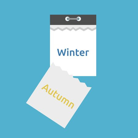 Abstract tear-off calendar with leaf falling and seasons changing from autumn to winter isolated on blue