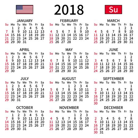 2018 year calendar. Simple, clear and big. English language. Week starts on Sunday. Sunday highlighted. No holidays. Vector illustration. EPS 8, no gradients, no transparency Çizim