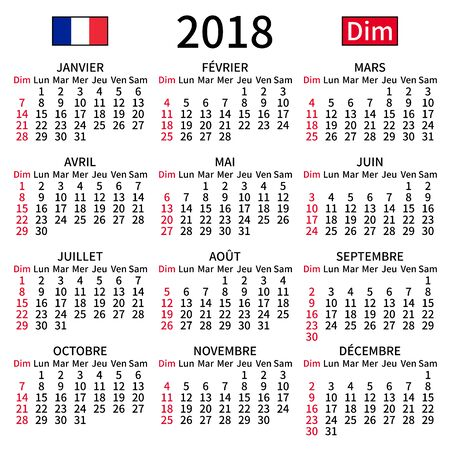 2018 year calendar. Simple, clear and big. French language. Week starts on Sunday. Sunday highlighted. No holidays. Vector illustration. EPS 8, no gradients, no transparency Çizim