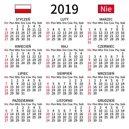 2019 year calendar. Simple, clear and big. Polish language. Week starts on Sunday. Sunday highlighted. No holidays. Vector illustration. EPS 8, no gradients, no transparency Ilustrace