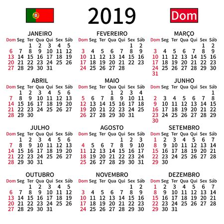 2019 year calendar. Simple, clear and big. Portuguese language. Week starts on Sunday. Sunday highlighted. No holidays. Vector illustration. EPS 8, no gradients, no transparency