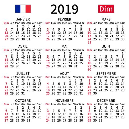 2019 year calendar. Simple, clear and big. French language. Week starts on Sunday. Sunday highlighted. No holidays. Vector illustration. EPS 8, no gradients, no transparency