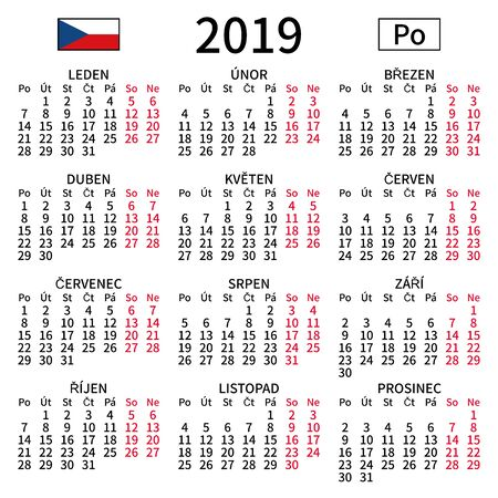 2019 year calendar. Simple, clear and big. Czech language. Week starts on Monday. Saturday and Sunday highlighted. No holidays. Vector illustration. EPS 8, no gradients, no transparency